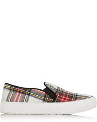 Plaid canvas slip on sneakers medium 91527
