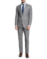 Hugo Boss Boss Hutson Gander Broken Plaid Wool Suit Light Gray