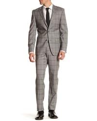 Simon Spurr Gray Plaid Two Button Notch Lapel Regular Fit Suit