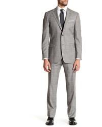 Ike Behar Gray Plaid Two Button Notch Lapel Wool Suit