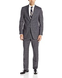 Tommy Hilfiger Grey Plaid 2 Button Side Vent Trim Fit Suit
