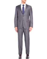 Hickey Freeman Grey Plaid Wool Suit