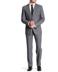 English Laundry Light Grey Plaid Two Button Notch Lapel Wool Suit