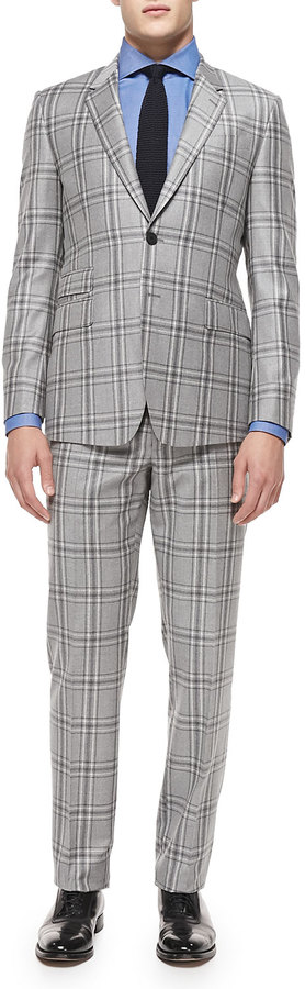 Paul Smith Plaid Two Piece Suit Light Graywhite | Where to buy ...