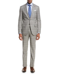 Plaid super 130s wool two piece suit light gray medium 3692520