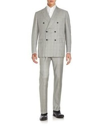 Brioni Regular Fit Double Breasted Glen Plaid Wool Suit