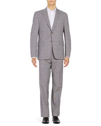 Lauren Silver Slim Fit Glen Plaid Suit Set