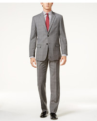 Tommy Hilfiger Slim Fit Stretch Performance Gray Tonal Plaid Suit