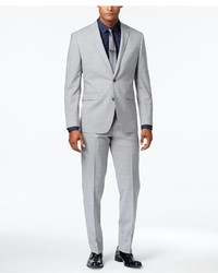 Vince Camuto Slim Fit Tonal Plaid Light Gray Suit