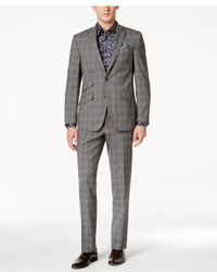 Tallia Slim Fit Gray And Tan Plaid Suit