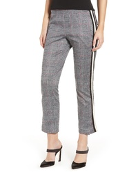 Grey Plaid Tapered Pants