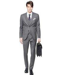 Brioni Bracciano Woolsilk 3 Pieces Check Suit