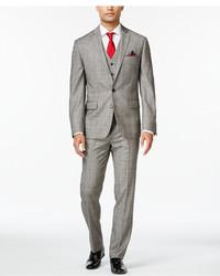 Ryan Seacrest Distinction Slim Fit Black And White Glen Plaid Vested Suit Only At Macys