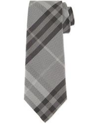 Burberry Textured Check Silk Tie Gray
