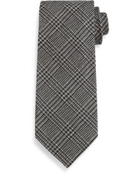 Tom Ford Houndstooth Plaid Tie Gray