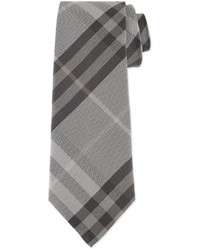 Burberry Textured Check Silk Tie Gray