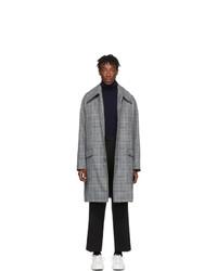 Givenchy Grey And Blue Check Mac Coat