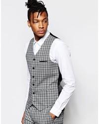 Asos Brand Vest In Check In Gray