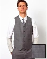 Asos Slim Fit Vest In 100% Wool Check