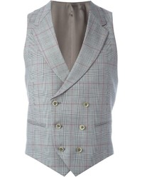 Caruso Double Breasted Plaid Waistcoat