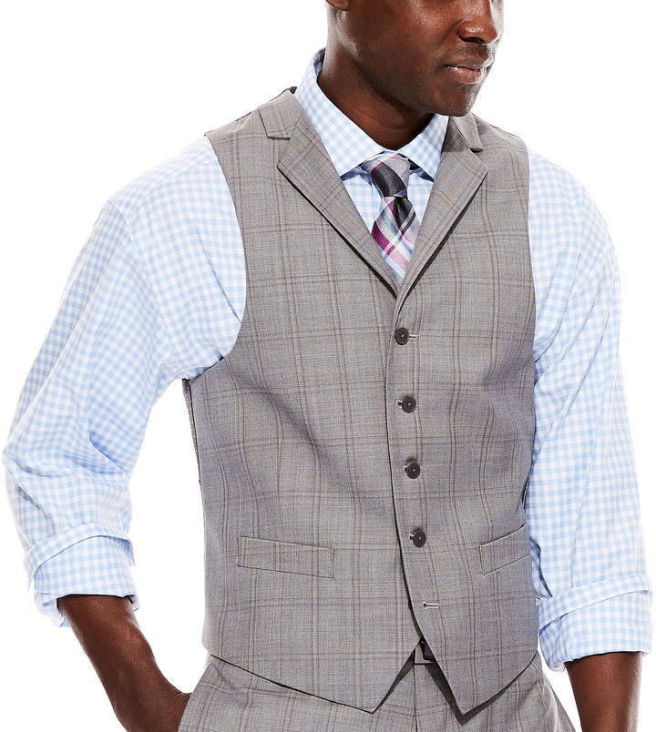 Collection Collection By Michl Strahan Light Gray Plaid Suit Vest ...
