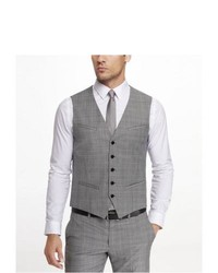 Express Plaid Suit Vest Gray Large