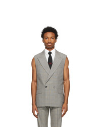Ernest W. Baker Grey And Brown Houndstooth Sleeveless Double Breasted Blazer