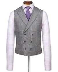 Charles Tyrwhitt Grey Check British Panama Luxury Suit Vest