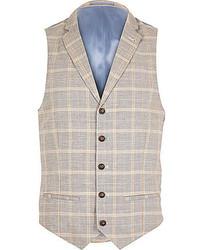 River Island Grey Check Linen Blend Smart Vest