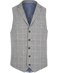 Grey check linen blend vest medium 232501