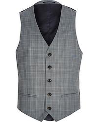 River Island Grey Check Wool Blend Vest