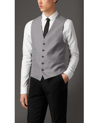 Burberry Modern Fit Wool And Satin Panel Waistcoat