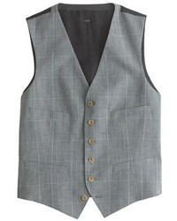 Ludlow Suit Vest In Glen Plaid Italian Wool Linen