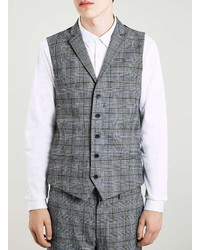 Topman Blue And Gray Wool Blend Check Suit Vest