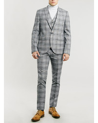 Topman Light Grey And Burgundy Check Suit Waistcoat | Where to buy ...