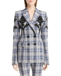 Grey Plaid Wool Blazer