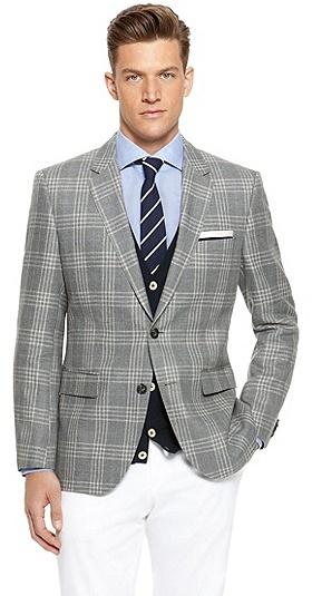 Hugo Boss The James Regular Fit Linen Virgin Wool Plaid
