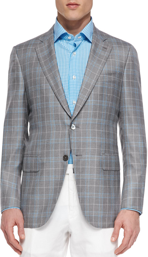 Isaia Wool Plaid Sport Coat Grayblue | Where to buy & how to wear