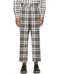 Thom Browne Grey Wool Tartan Check Trousers