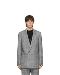 Grey Plaid Wool Double Breasted Blazer