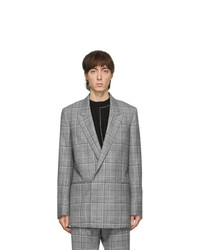 Paul Smith Grey Prince Of Wales Double Breasted Blazer