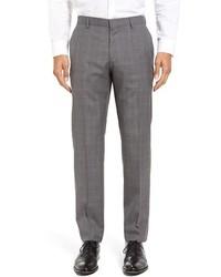 BOSS Genesis Flat Front Plaid Wool Trousers