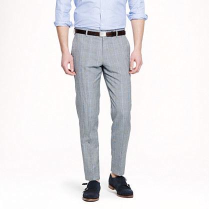 J.Crew Ludlow Slim Suit Pant In Glen Plaid Italian Wool Linen