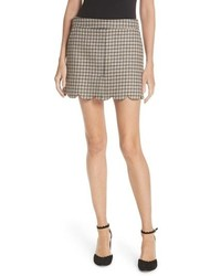 Grey Plaid Wool Mini Skirt
