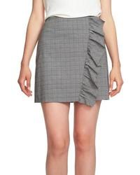 1 STATE Glen Plaid Ruffle Plaid Miniskirt