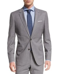 Hugo Boss Boss Huge Genius Tonal Plaid Two Piece Slim Wool Suit Light Gray