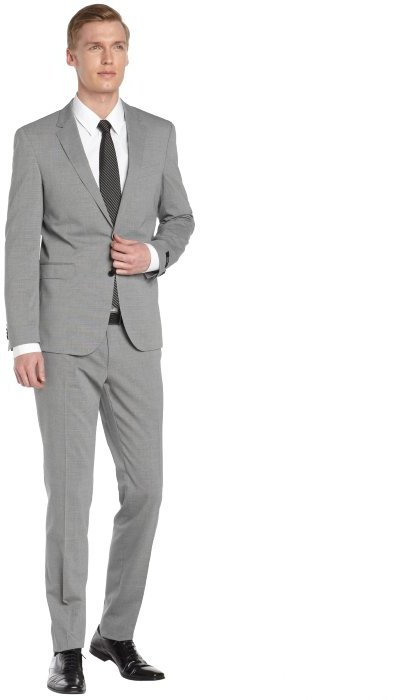 Hugo Boss Boss Light Grey Glen Plaid Wool 2 Button Suit With Flat ...
