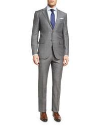 Ermenegildo Zegna Plaid Wool Two Piece Suit Light Gray