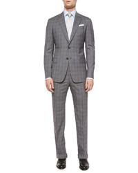 Armani Collezioni G Line Plaid Two Piece Suit Grayblue