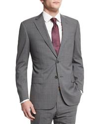 Armani Collezioni G Line Plaid Windowpane Wool Suit Gray